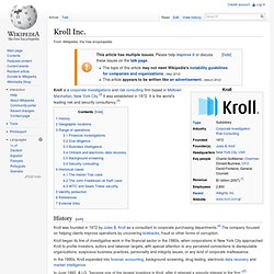 Kroll Inc. - Wikipedia, the free encyclopedia - Nightly