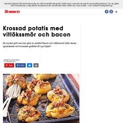 Recept krossad potatis med bacon och vitlökssmör