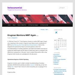 Krugman Mentions MMT Again …