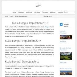 Kuala Lumpur Population 2015 - World Population Review