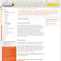 Karl Kübel Stiftung - Förderkriterien