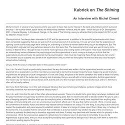 Kubrick speaks in regard to 'The Shining'