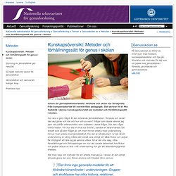 Kunskapsöversikt: Metoder och förhållningssätt för genus i skolan - Nationella sekretariatet för genusforskning, Göteborgs universitet