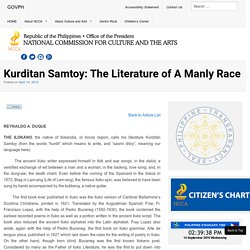 Kurditan Samtoy: The Literature of A Manly Race - National Commission for Culture and the Arts