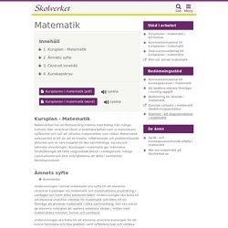Kursplan - Matematik (Grundskolan)