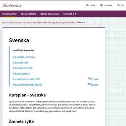 Kursplan - Svenska (Grundskolan)