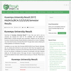 Kuvempu University Result