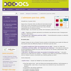 L'admission post-bac (APB)-2016 Doc pour doc