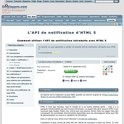 L'API de notification d'HTML 5