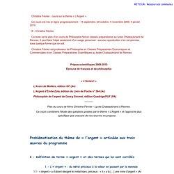 """COURS en ligne - L'argent (basé sur l'ouvrage """"clefs concours"""" littérature / philosophie)"""