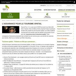L'assurance pour le tourisme spatial - APRIL ...