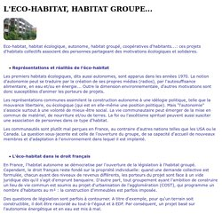 L'ECO-HABITAT, HABITAT GROUPE...
