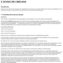 L' ECOLE DE CHICAGO