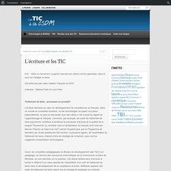 L'écriture et les TIC