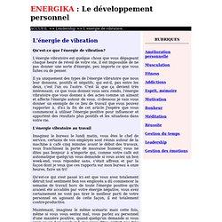 L'énergie vibratoire