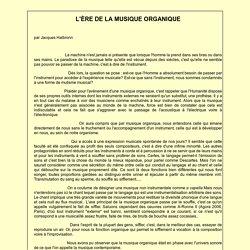 L'ÈRE DE LA MUSIQUE ORGANIQUE