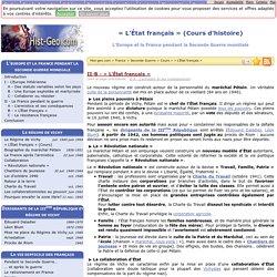 « L'État français » (Cours d'histoire)