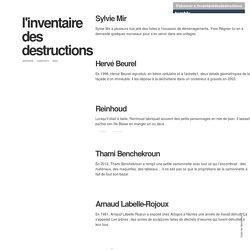 l'inventaire des destructions