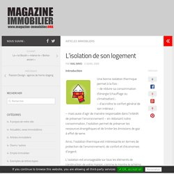 L'isolation de son logement