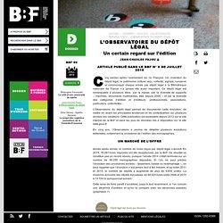 article BBF sur le dernier rapport de l'Observatoire du dépôt légal
