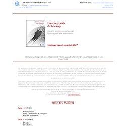 2009 - L'ombre portée de l'élevage - Impacts environnementaux et options pour leur atténuation
