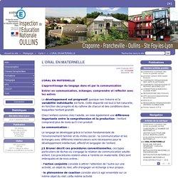 L'ORAL EN MATERNELLE - Oullins
