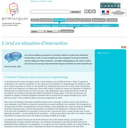 L'oral en situation d'interaction