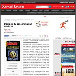 L'origine du consommateur moderne - Jan de Vries, article Histoire