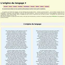 L'origine du langage♥ ~ Philosophie