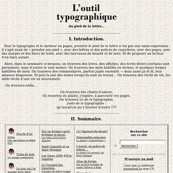 L'Outil typographique - Sommaire