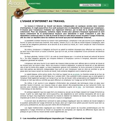 L'USAGE D'INTERNET AU TRAVAIL