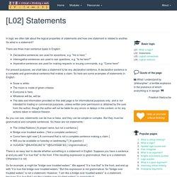 [L02] Statements