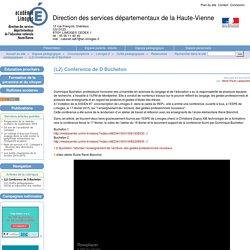 (L2) Conférence de D Bucheton - Direction des services départementaux de la Haute-Vienne