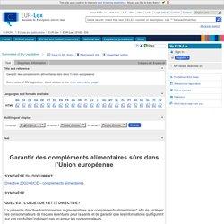 EUROPE 24/08/10 Compléments alimentaires
