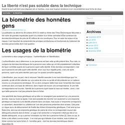 » La biométrie des honnêtes gens