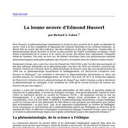 La bonne oeuvre d'Edmond Husserl