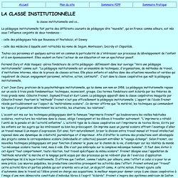 La classe institutionnelle