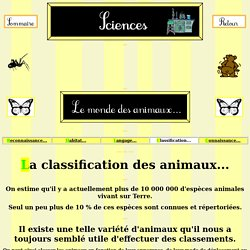 La classification des animaux