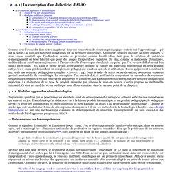 La conception d'un didacticiel d'ALAO