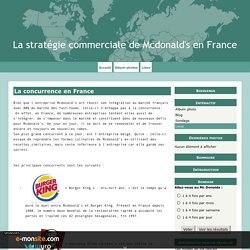 La concurrence en France - La stratégie commerciale de Mcdonald's en France