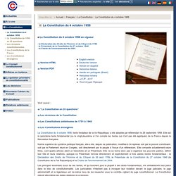 La Constitution du 4 octobre 1958