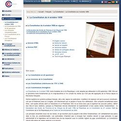 La Constitution du 4 octobre 1958