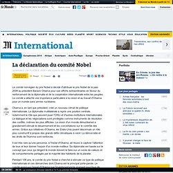 La déclaration du comité Nobel