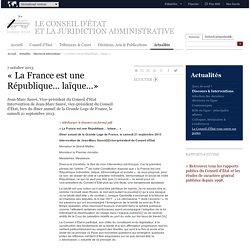 « La France est une République… laïque…»