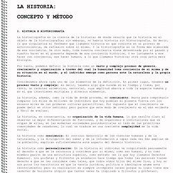 La historia: concepto y método
