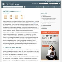 La langue - JAPON