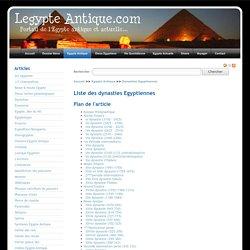 La liste des dynasties Égyptiennes