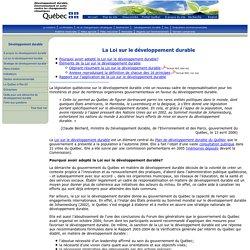 La Loi sur le développement durable