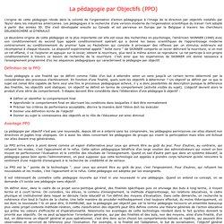 La pédagogie par Objectifs (PPO)