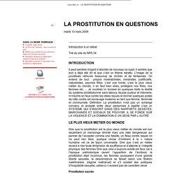 LA PROSTITUTION EN QUESTIONS